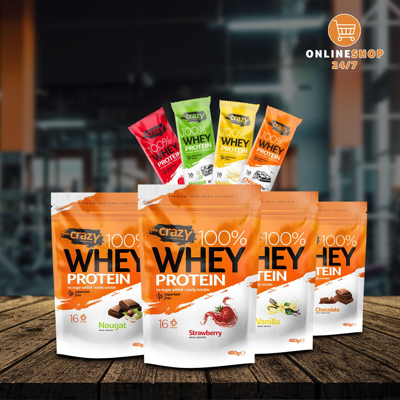 Crazy Whey Protein: Vanila, Jagoda, Nugat, Čokolada