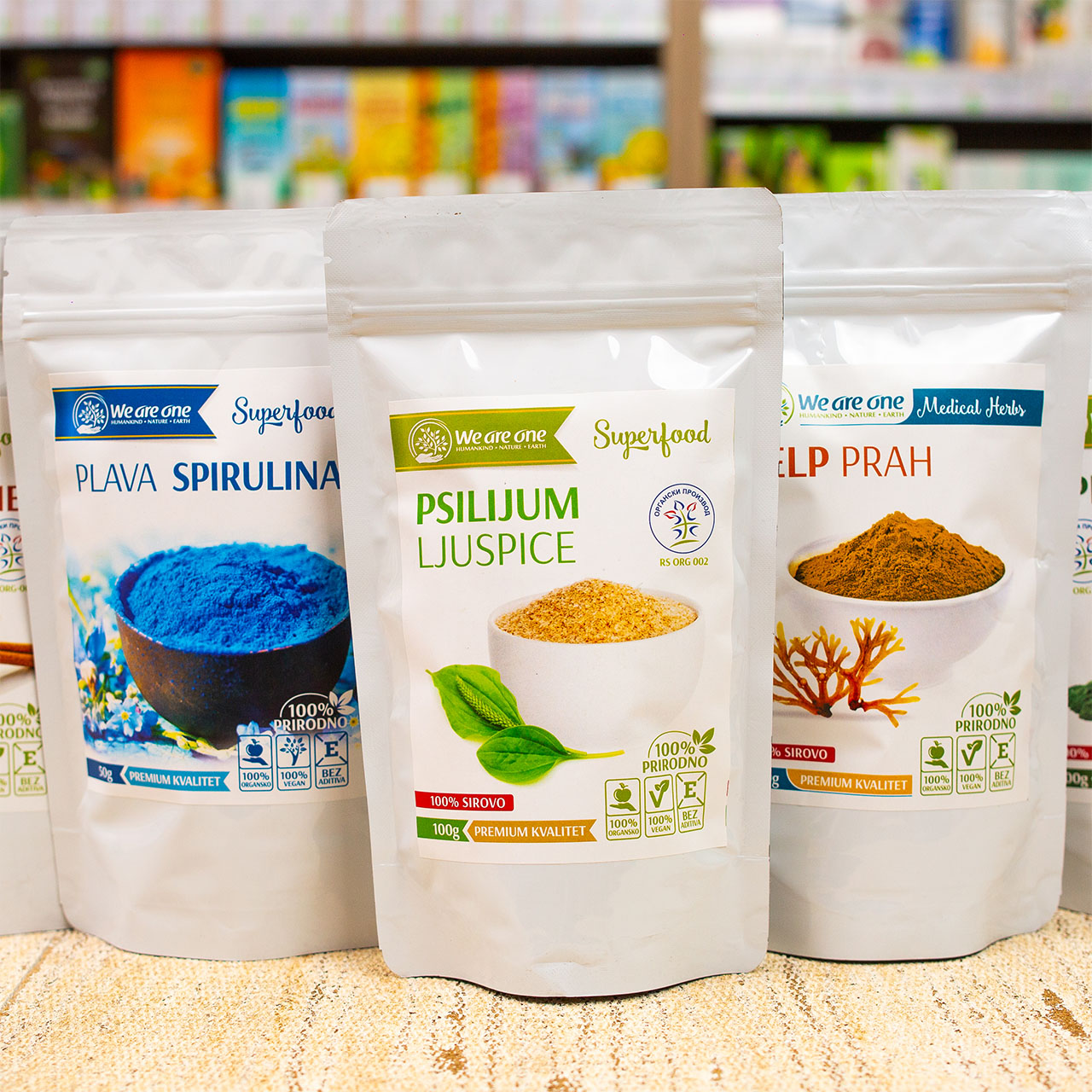 Superfood We are One: Plava spirulina, Psilijum ljuspice, Kelp prah